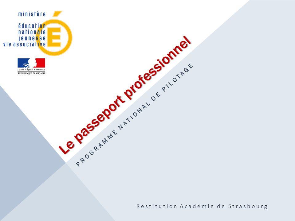 Le passeport professionnel PROGRAMME NATIONAL DE PILOTAGE Restitution Académie de Strasbourg
