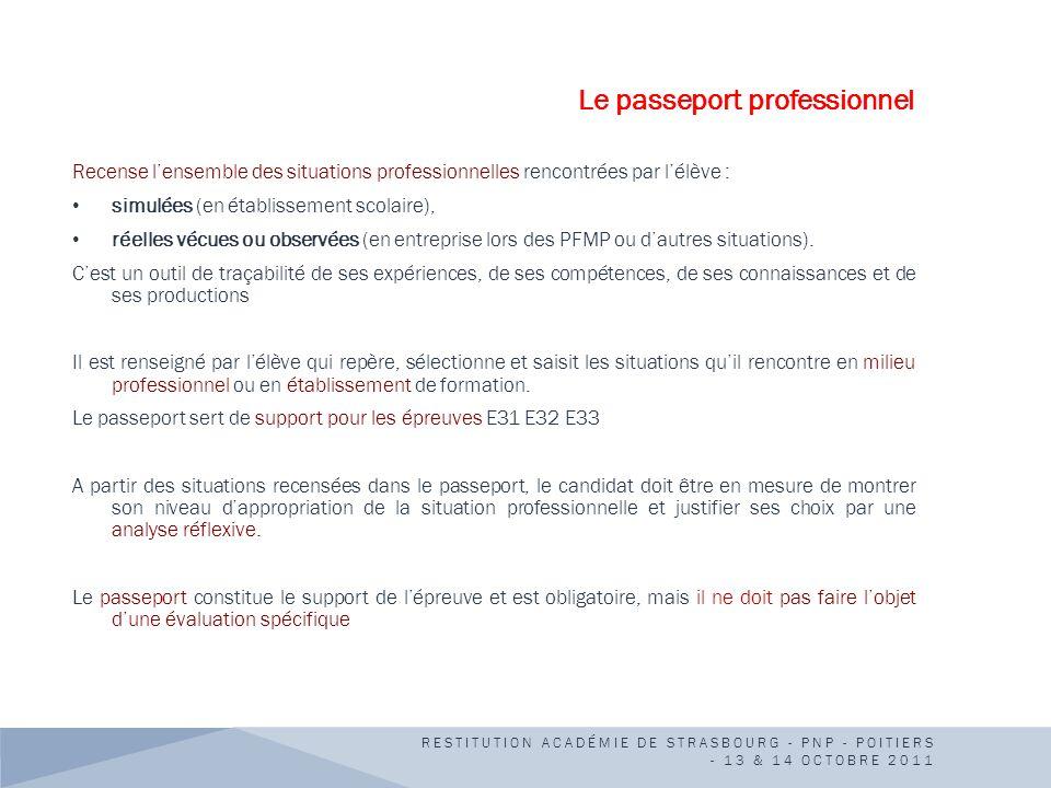 Le passeport professionnel Recense lensemble des situations professionnelles rencontrées par lélève : simulées (en établissement scolaire), réelles vé