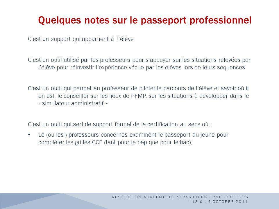Quelques notes sur le passeport professionnel Cest un support qui appartient à lélève Cest un outil utilisé par les professeurs pour sappuyer sur les