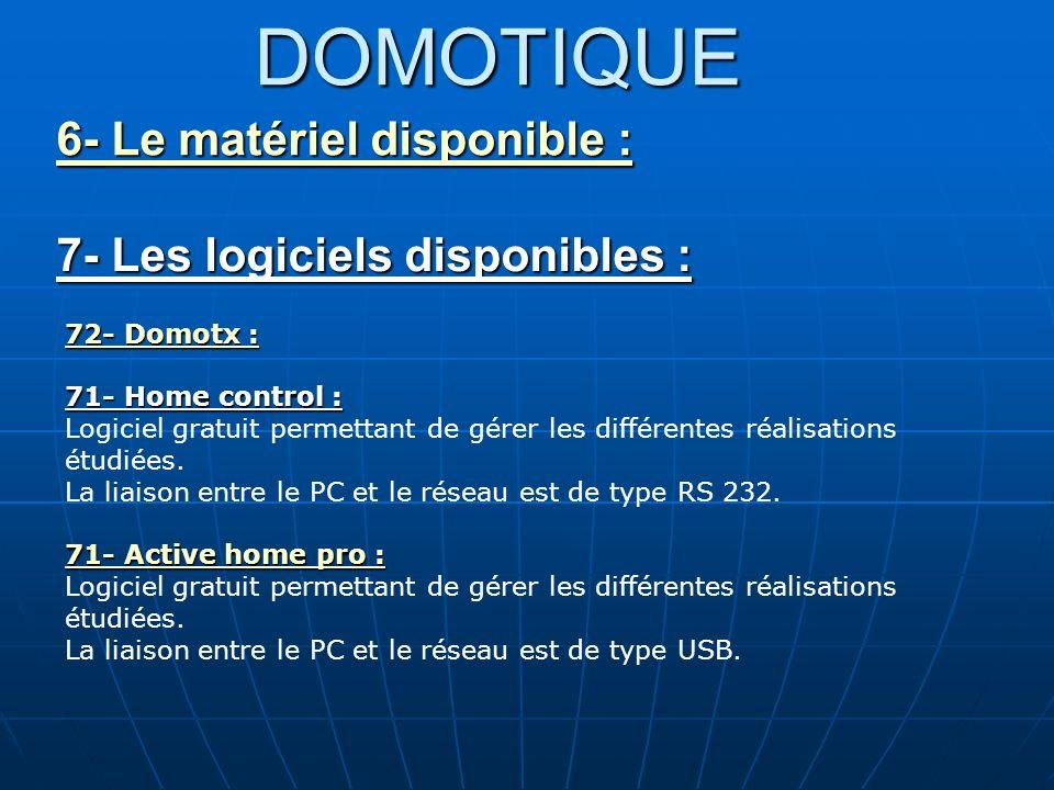 DOMOTIQUE 6- Le matériel disponible : 6- Le matériel disponible : 7- Les logiciels disponibles : 72- Domotx : 72- Domotx : 71- Home control : Logiciel
