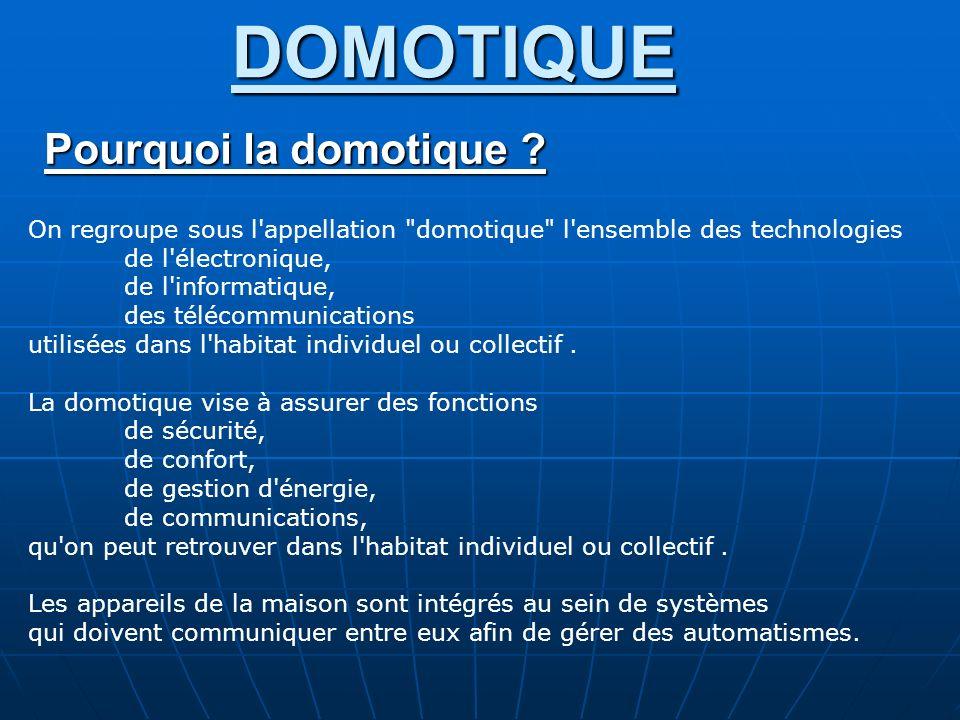 DOMOTIQUE 2- Les différents principes de commande : -Les courants porteurs -Les courants porteurs : CPL (1,6 Mhz à 30 Mhz) Concernant les CPL, il n y a pas encore de norme spécifique, ni de standard au niveau européen, un seul standard existe à ce jour et il est américain : Homeplug (V1.0.1 ou AV).