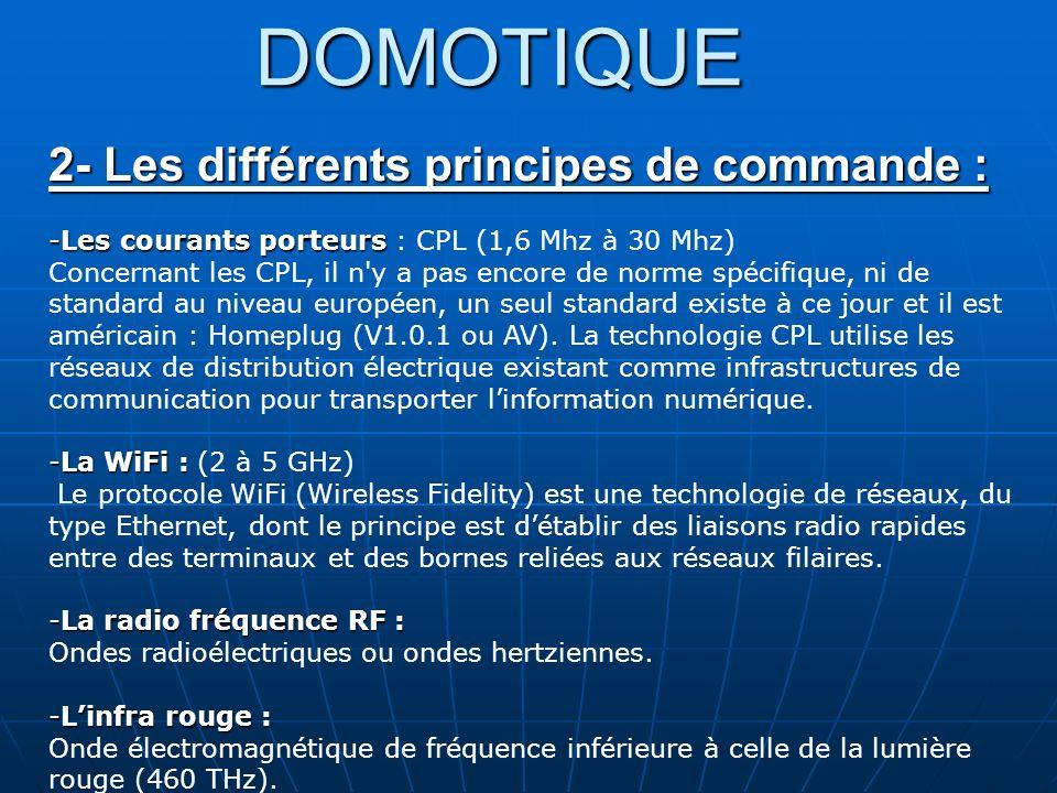 DOMOTIQUE 2- Les différents principes de commande : -Les courants porteurs -Les courants porteurs : CPL (1,6 Mhz à 30 Mhz) Concernant les CPL, il n'y