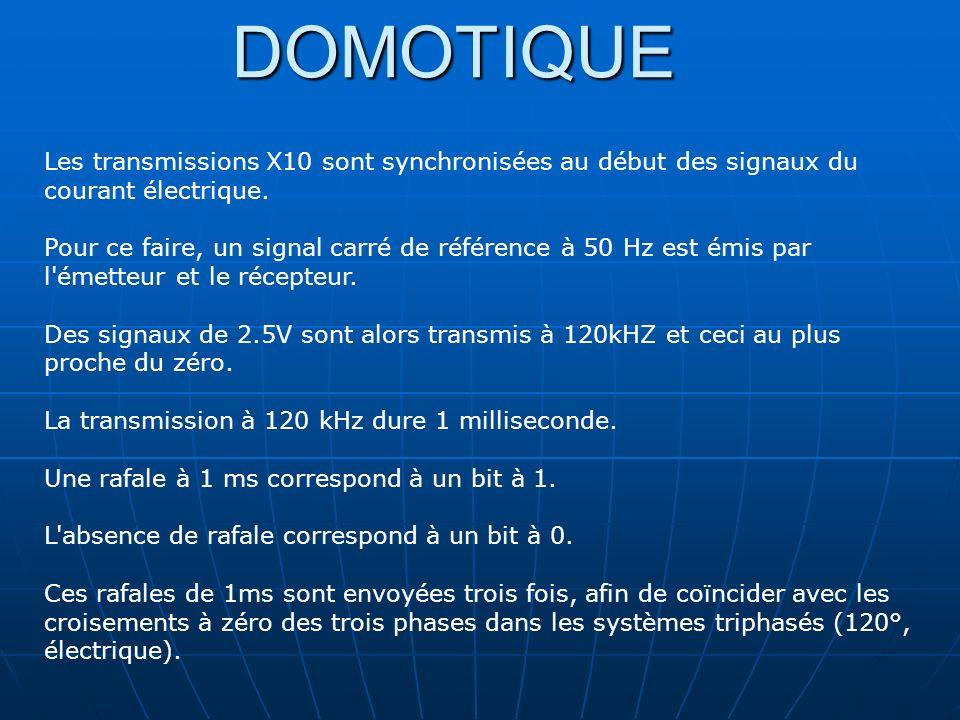 DOMOTIQUE Les transmissions X10 sont synchronisées au début des signaux du courant électrique. Pour ce faire, un signal carré de référence à 50 Hz est