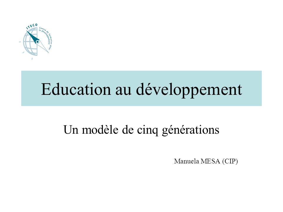 introduction Lorganisation espagnole « Centre de recherche pour la paix » (C.I.P) propose un modèle de cinq générations qui retrace lévolution historique de l éducation au développement.