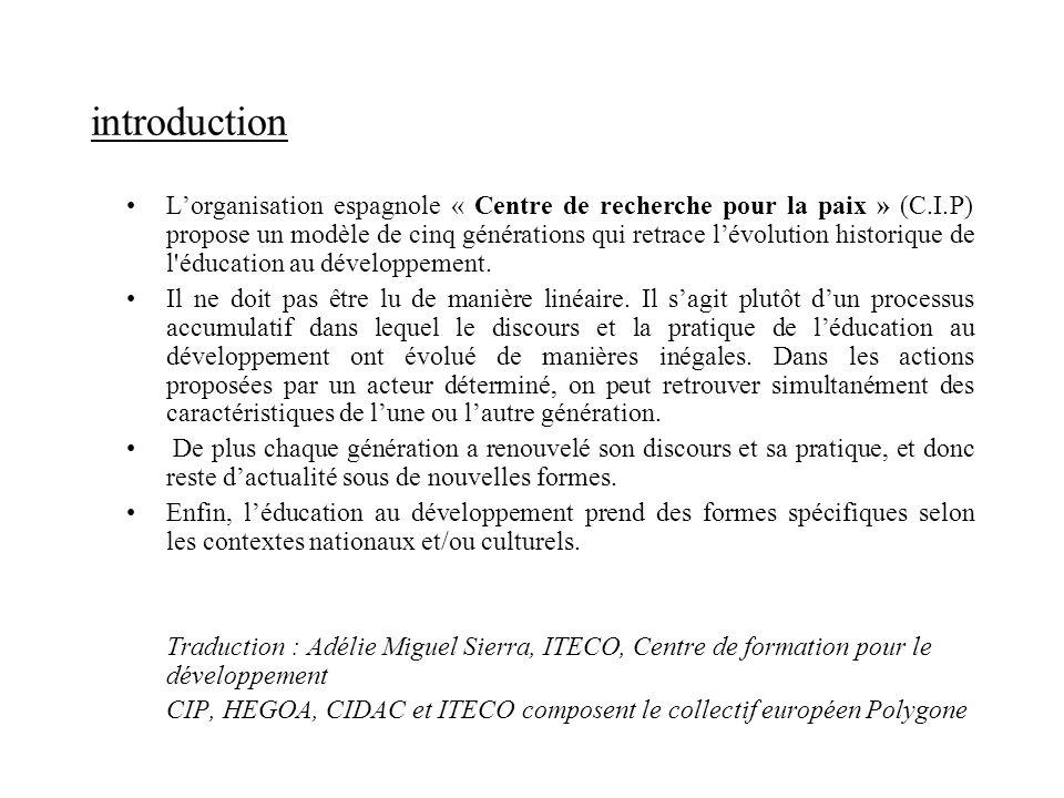introduction Lorganisation espagnole « Centre de recherche pour la paix » (C.I.P) propose un modèle de cinq générations qui retrace lévolution histori