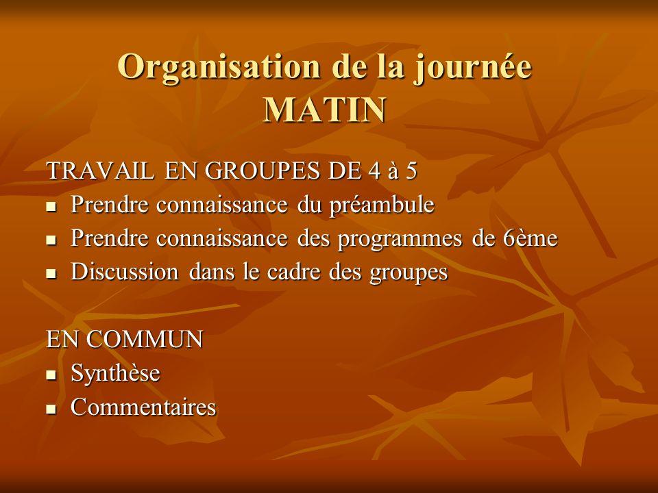 Organisation de la journée MATIN TRAVAIL EN GROUPES DE 4 à 5 Prendre connaissance du préambule Prendre connaissance du préambule Prendre connaissance