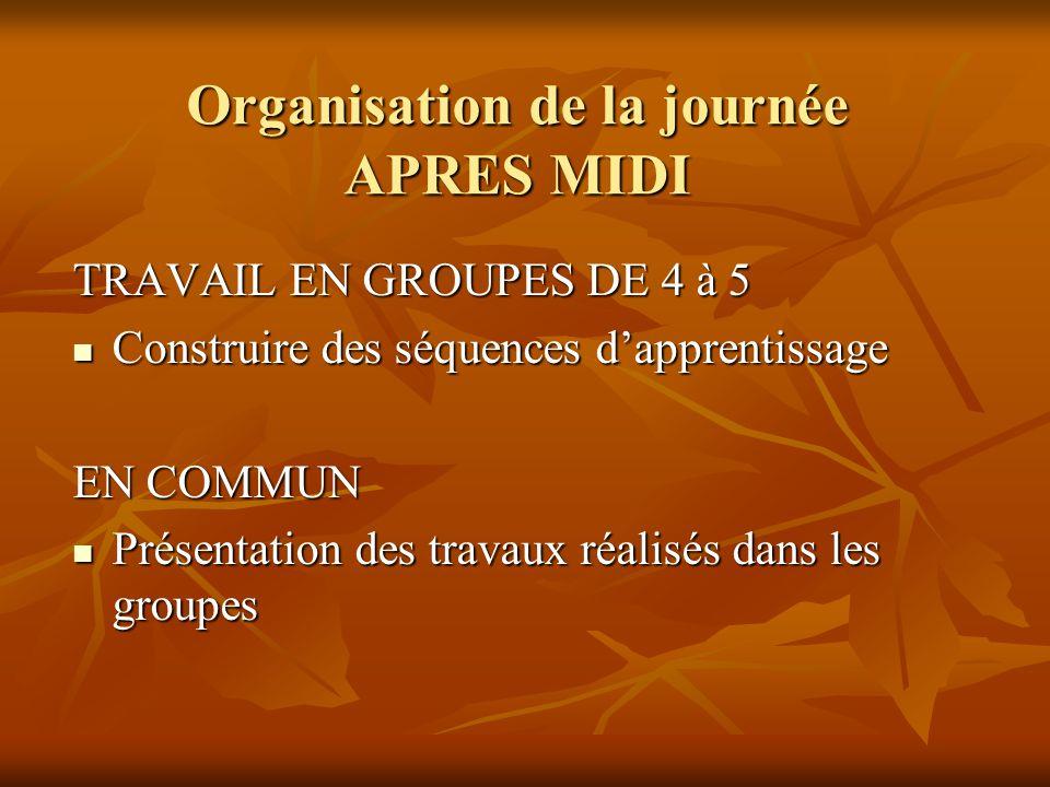 Organisation de la journée APRES MIDI TRAVAIL EN GROUPES DE 4 à 5 Construire des séquences dapprentissage Construire des séquences dapprentissage EN COMMUN Présentation des travaux réalisés dans les groupes Présentation des travaux réalisés dans les groupes