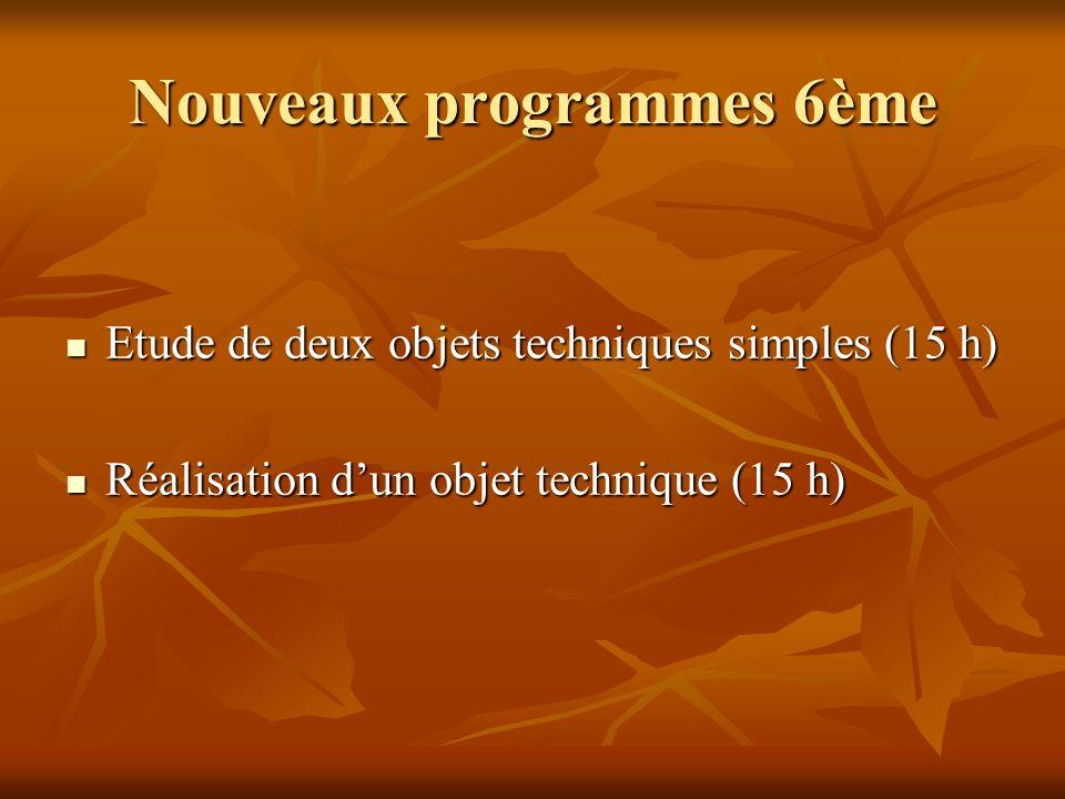 Nouveaux programmes 6ème Etude de deux objets techniques simples (15 h) Etude de deux objets techniques simples (15 h) Réalisation dun objet technique (15 h) Réalisation dun objet technique (15 h)