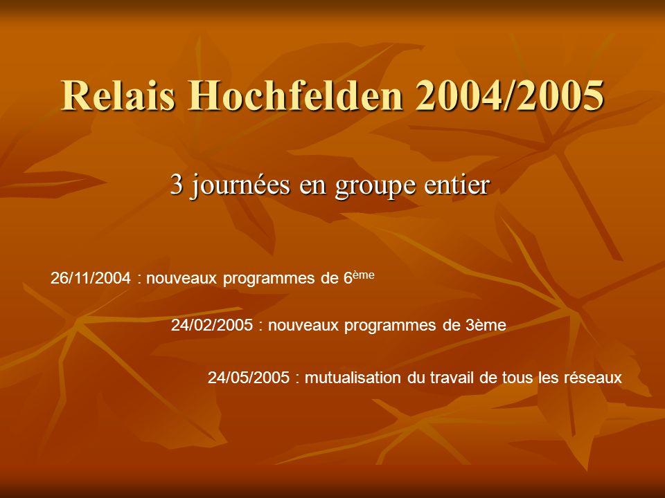 Relais Hochfelden 2004/2005 3 journées en groupe entier 26/11/2004 : nouveaux programmes de 6 ème 24/02/2005 : nouveaux programmes de 3ème 24/05/2005
