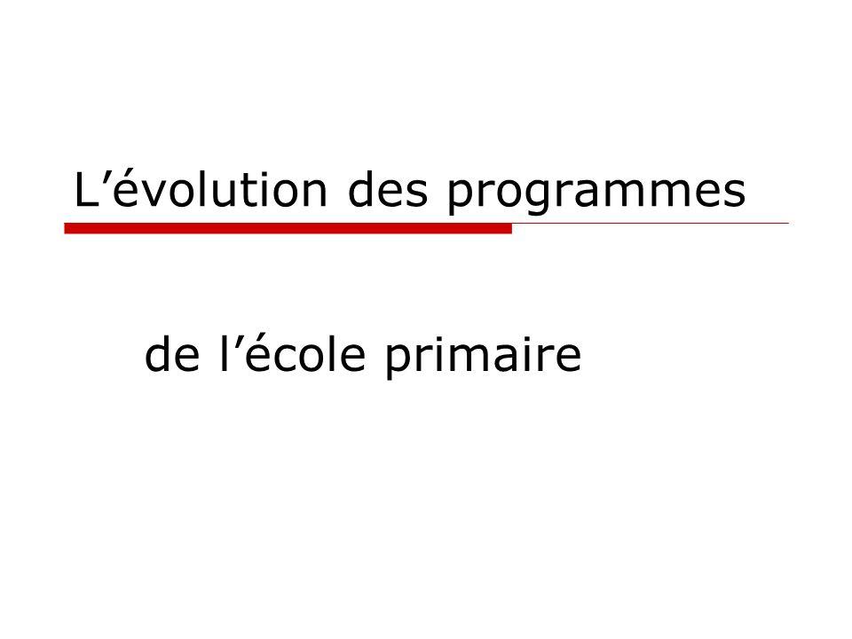 Lévolution des programmes de lécole primaire