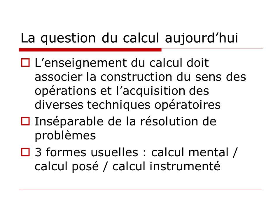 La question du calcul aujourdhui Lenseignement du calcul doit associer la construction du sens des opérations et lacquisition des diverses techniques opératoires Inséparable de la résolution de problèmes 3 formes usuelles : calcul mental / calcul posé / calcul instrumenté