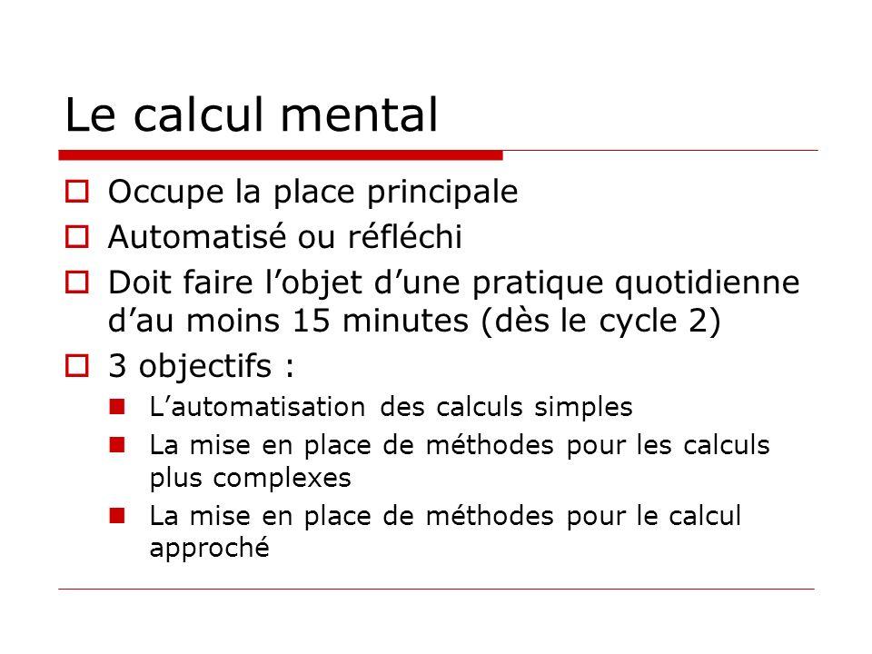 Le calcul mental Occupe la place principale Automatisé ou réfléchi Doit faire lobjet dune pratique quotidienne dau moins 15 minutes (dès le cycle 2) 3