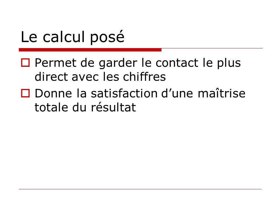 Le calcul posé Permet de garder le contact le plus direct avec les chiffres Donne la satisfaction dune maîtrise totale du résultat