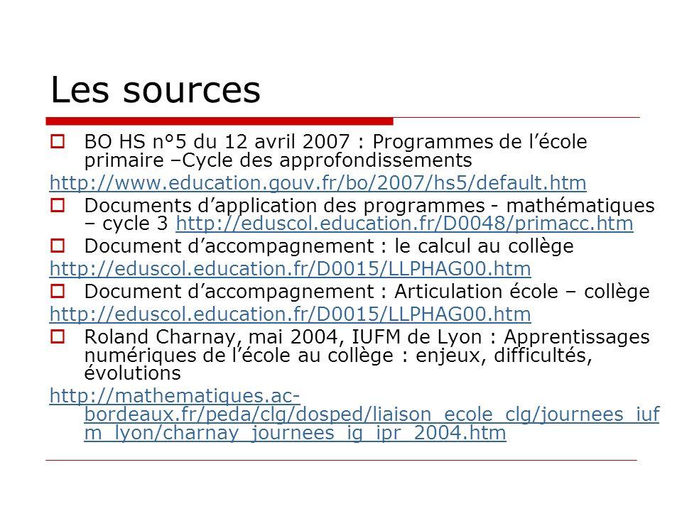 Les sources BO HS n°5 du 12 avril 2007 : Programmes de lécole primaire –Cycle des approfondissements http://www.education.gouv.fr/bo/2007/hs5/default.