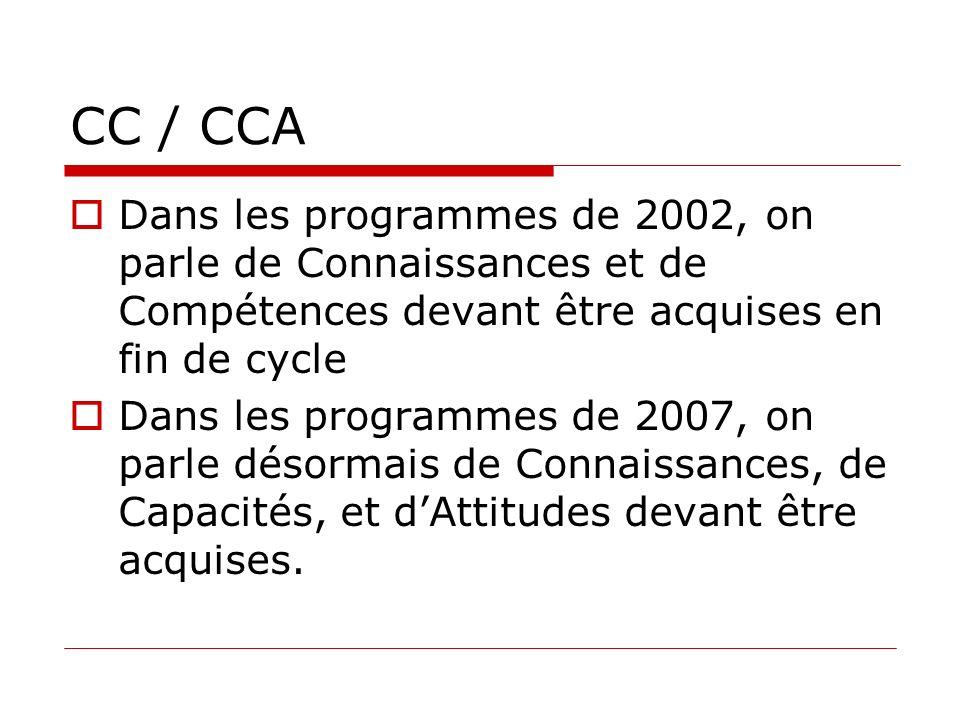 CC / CCA Dans les programmes de 2002, on parle de Connaissances et de Compétences devant être acquises en fin de cycle Dans les programmes de 2007, on