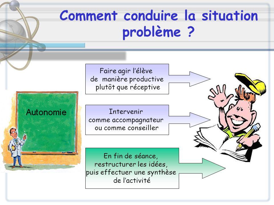 Comment conduire la situation problème ? Faire agir lélève de manière productive plutôt que réceptive Intervenir comme accompagnateur ou comme conseil