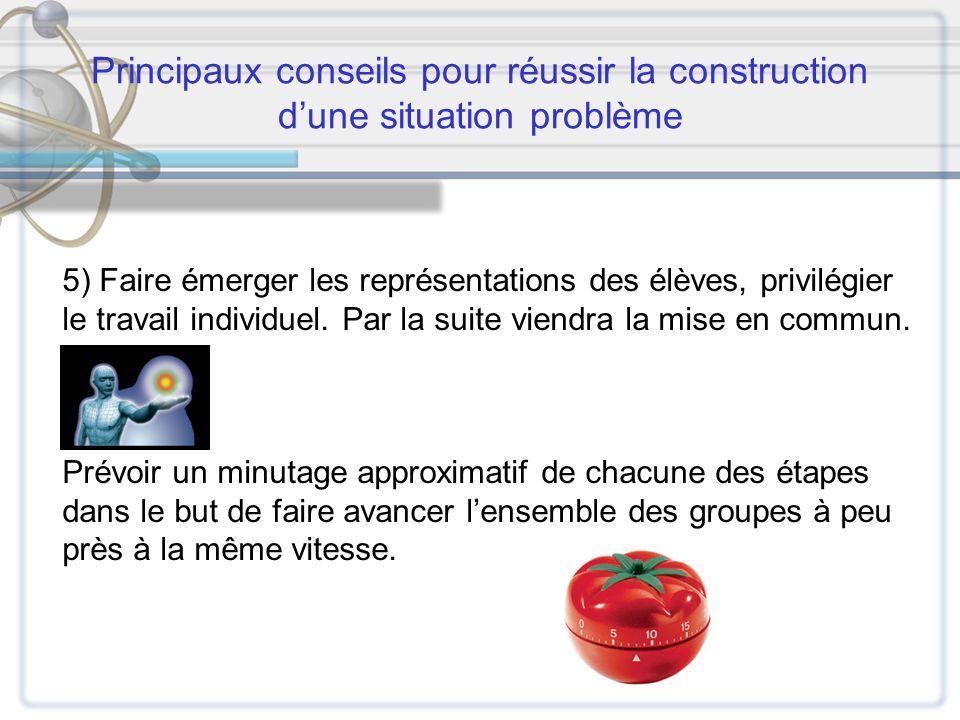 Principaux conseils pour réussir la construction dune situation problème 5) Faire émerger les représentations des élèves, privilégier le travail indiv