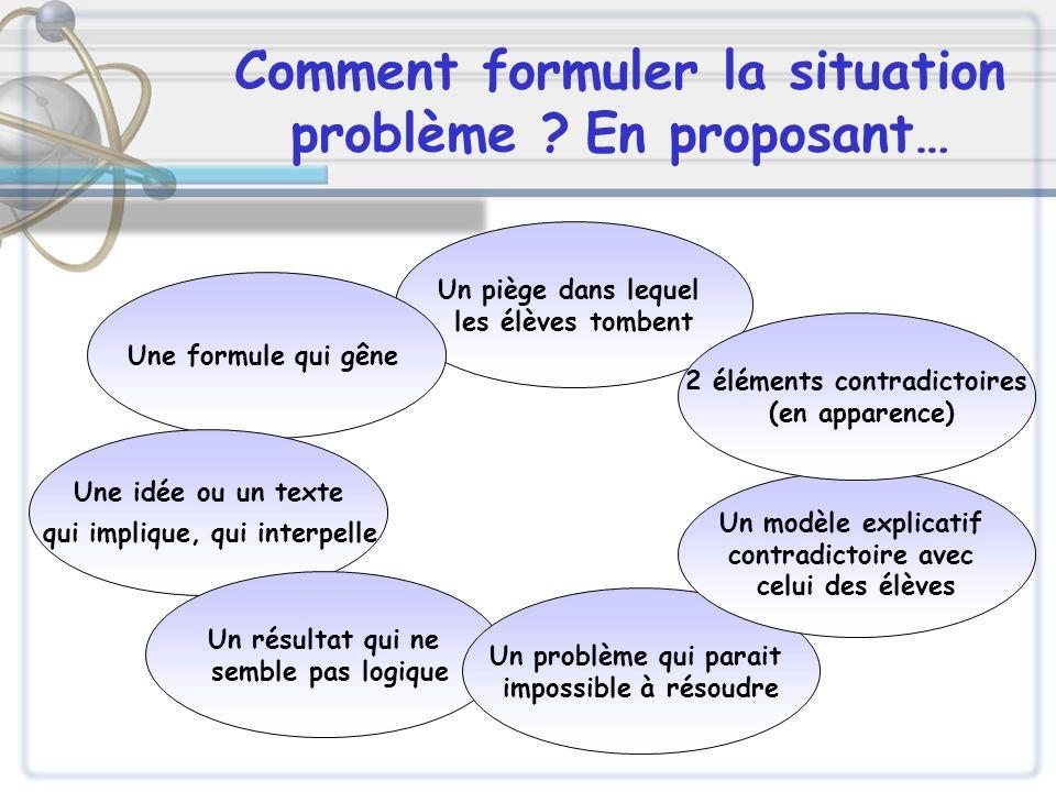Comment formuler la situation problème ? En proposant… Un piège dans lequel les élèves tombent Une formule qui gêne Une idée ou un texte qui implique,