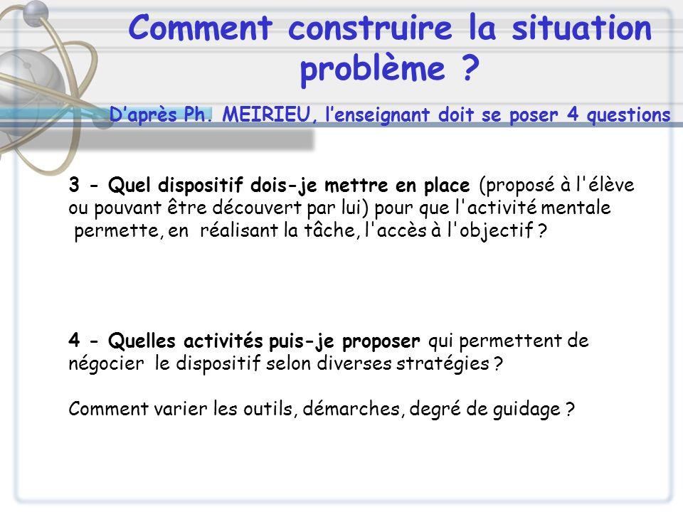 Comment construire la situation problème ? Daprès Ph. MEIRIEU, lenseignant doit se poser 4 questions 3 - Quel dispositif dois-je mettre en place (prop