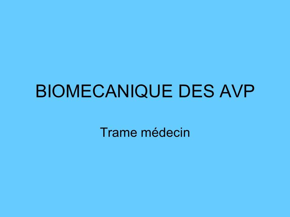 Choc latéral : -Trauma thorax: lésion de laorte -Trauma de rachis cervical -Trauma crâne -Trauma abdomen -Rate et foie -Trauma de hanche Les 5 types dimpacts