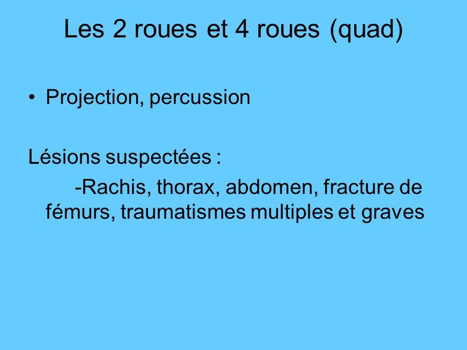 Les 2 roues et 4 roues (quad) Projection, percussion Lésions suspectées : -Rachis, thorax, abdomen, fracture de fémurs, traumatismes multiples et grav