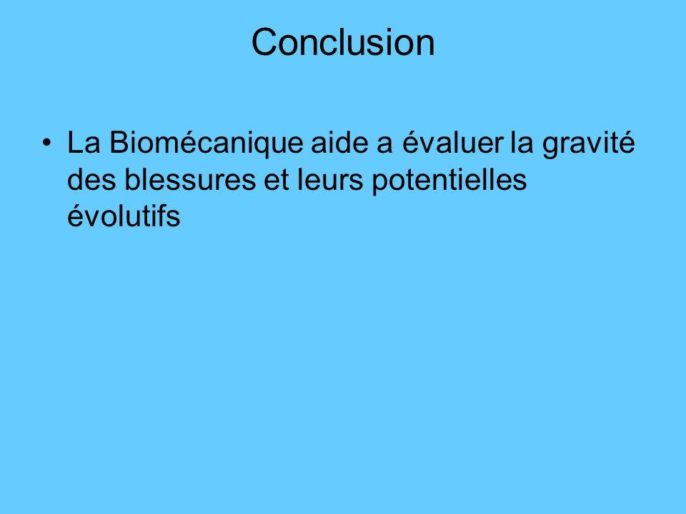 Conclusion La Biomécanique aide a évaluer la gravité des blessures et leurs potentielles évolutifs