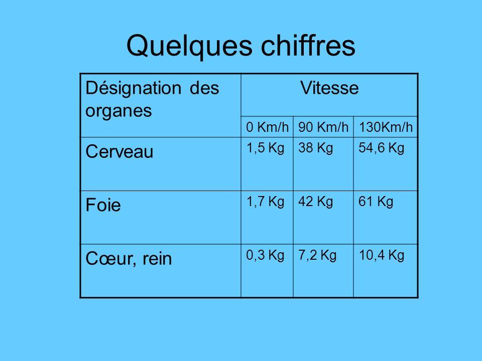 Quelques chiffres Désignation des organes Vitesse 0 Km/h90 Km/h130Km/h Cerveau 1,5 Kg38 Kg54,6 Kg Foie 1,7 Kg42 Kg61 Kg Cœur, rein 0,3 Kg7,2 Kg10,4 Kg