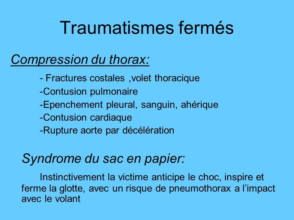 Traumatismes fermés Compression du thorax: - Fractures costales,volet thoracique -Contusion pulmonaire -Epenchement pleural, sanguin, ahérique -Contus