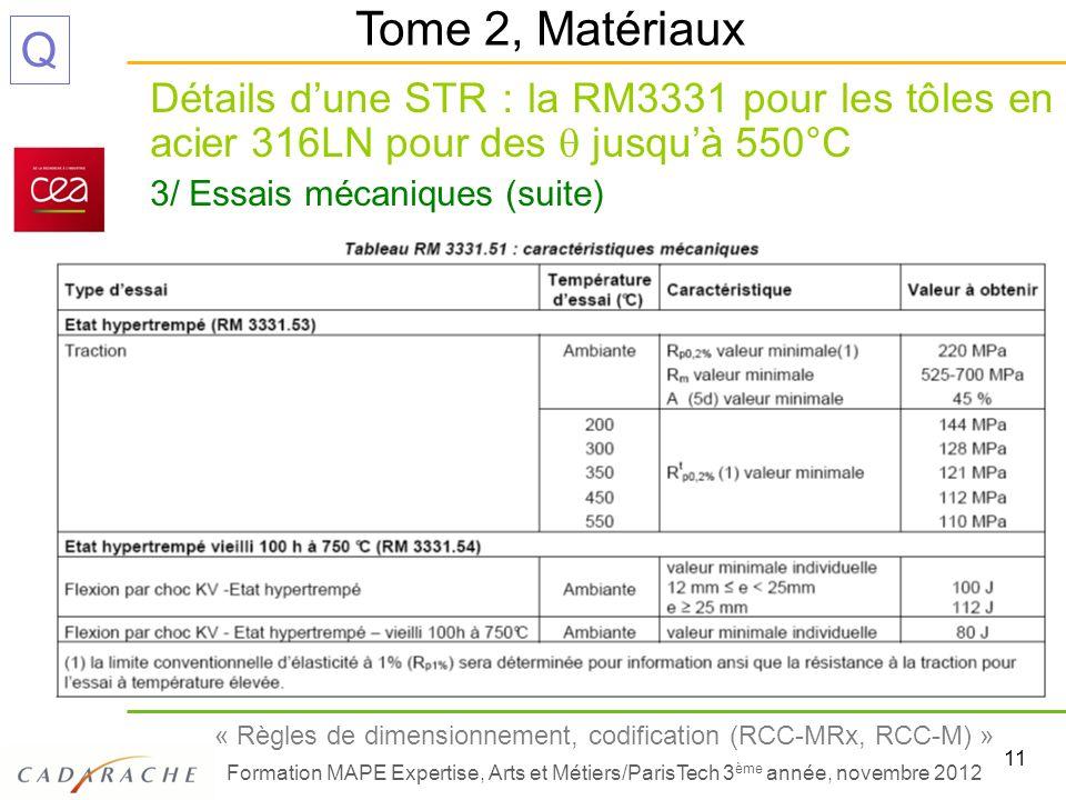11 « Règles de dimensionnement, codification (RCC-MRx, RCC-M) » Formation MAPE Expertise, Arts et Métiers/ParisTech 3 ème année, novembre 2012 Q Détai