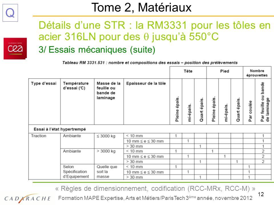 12 « Règles de dimensionnement, codification (RCC-MRx, RCC-M) » Formation MAPE Expertise, Arts et Métiers/ParisTech 3 ème année, novembre 2012 Q Détai