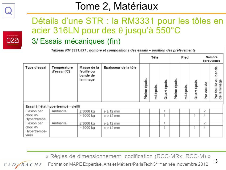 13 « Règles de dimensionnement, codification (RCC-MRx, RCC-M) » Formation MAPE Expertise, Arts et Métiers/ParisTech 3 ème année, novembre 2012 Q Détai