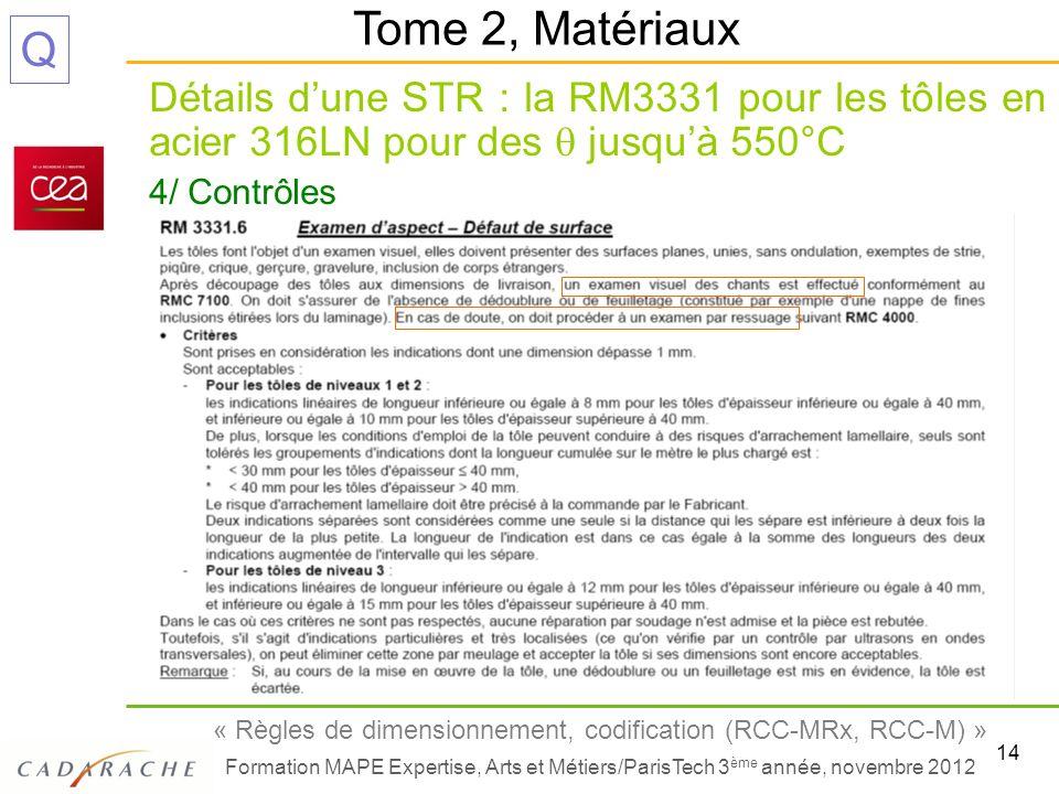 14 « Règles de dimensionnement, codification (RCC-MRx, RCC-M) » Formation MAPE Expertise, Arts et Métiers/ParisTech 3 ème année, novembre 2012 Q Détai