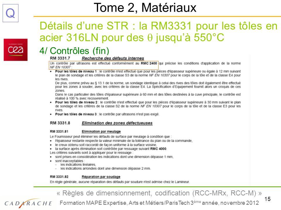 15 « Règles de dimensionnement, codification (RCC-MRx, RCC-M) » Formation MAPE Expertise, Arts et Métiers/ParisTech 3 ème année, novembre 2012 Q Détai