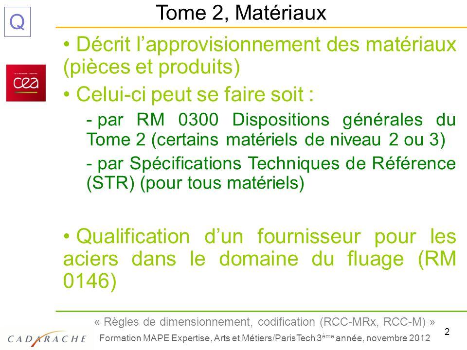 2 « Règles de dimensionnement, codification (RCC-MRx, RCC-M) » Formation MAPE Expertise, Arts et Métiers/ParisTech 3 ème année, novembre 2012 Q Décrit
