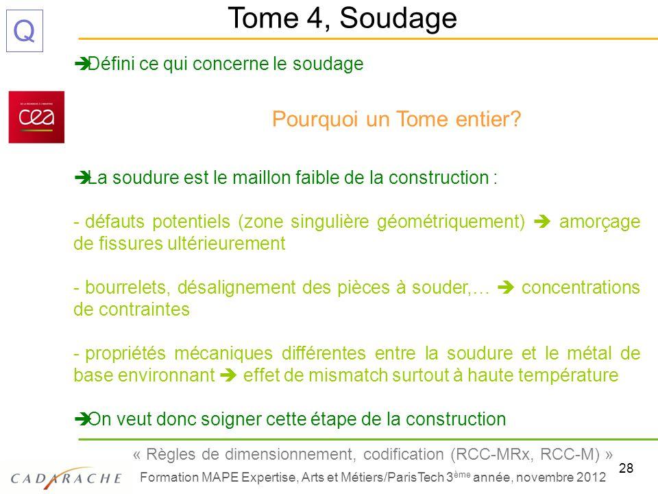 28 « Règles de dimensionnement, codification (RCC-MRx, RCC-M) » Formation MAPE Expertise, Arts et Métiers/ParisTech 3 ème année, novembre 2012 Q Défin