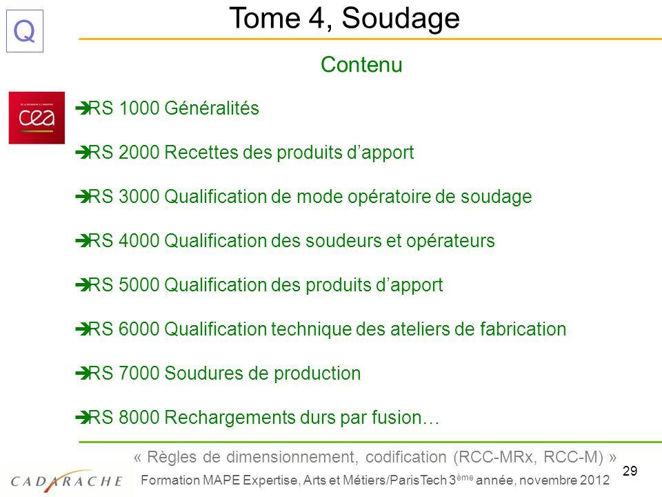 29 « Règles de dimensionnement, codification (RCC-MRx, RCC-M) » Formation MAPE Expertise, Arts et Métiers/ParisTech 3 ème année, novembre 2012 Q Conte