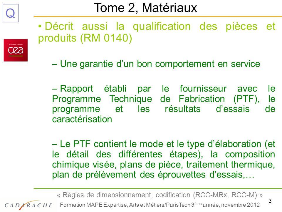3 « Règles de dimensionnement, codification (RCC-MRx, RCC-M) » Formation MAPE Expertise, Arts et Métiers/ParisTech 3 ème année, novembre 2012 Q Décrit