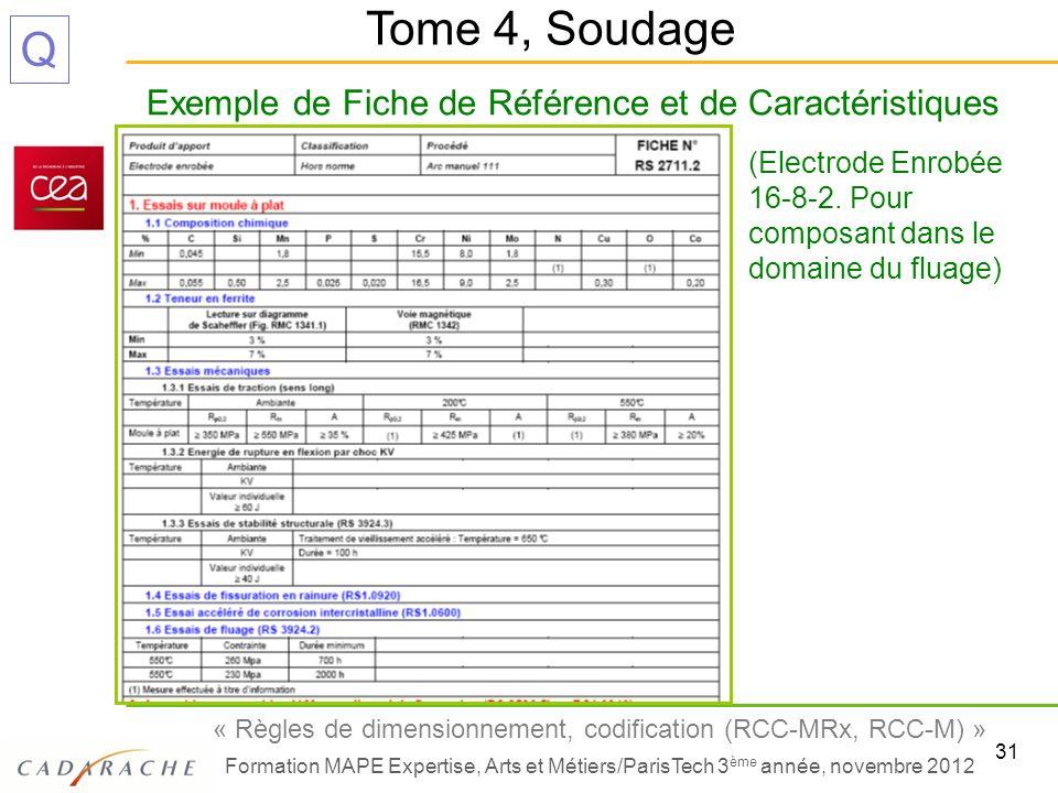 31 « Règles de dimensionnement, codification (RCC-MRx, RCC-M) » Formation MAPE Expertise, Arts et Métiers/ParisTech 3 ème année, novembre 2012 Q Exemp