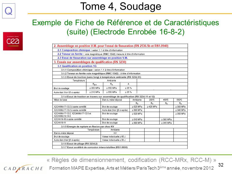 32 « Règles de dimensionnement, codification (RCC-MRx, RCC-M) » Formation MAPE Expertise, Arts et Métiers/ParisTech 3 ème année, novembre 2012 Q Exemp