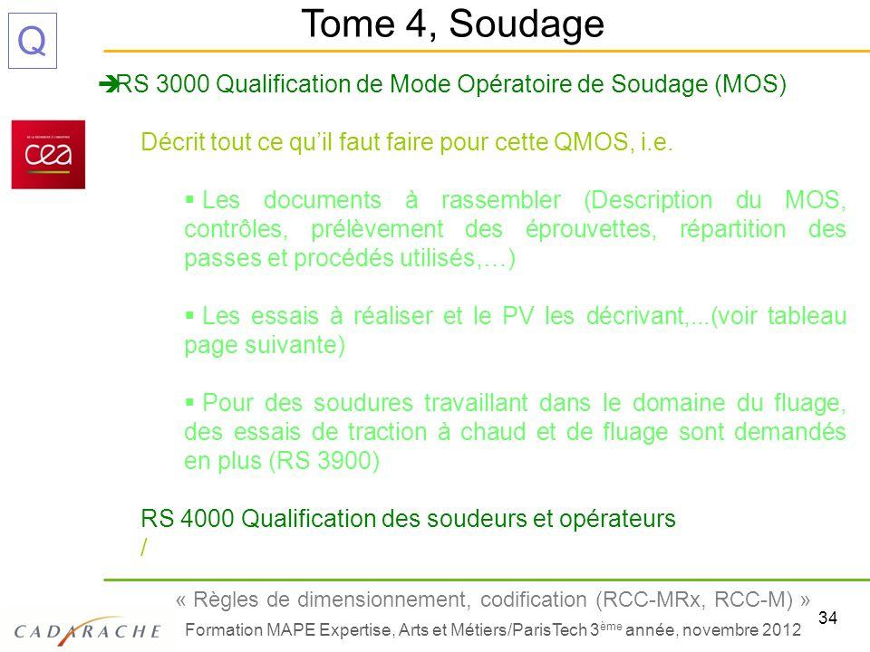 34 « Règles de dimensionnement, codification (RCC-MRx, RCC-M) » Formation MAPE Expertise, Arts et Métiers/ParisTech 3 ème année, novembre 2012 Q RS 30