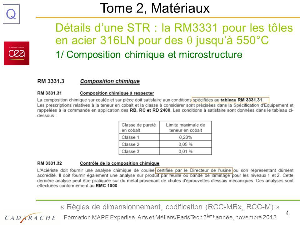 5 « Règles de dimensionnement, codification (RCC-MRx, RCC-M) » Formation MAPE Expertise, Arts et Métiers/ParisTech 3 ème année, novembre 2012 Q Détails dune STR : la RM3331 pour les tôles en acier 316LN pour des jusquà 550°C 1/ Composition chimique et microstructure (suite) Tome 2, Matériaux