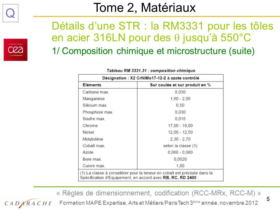 6 « Règles de dimensionnement, codification (RCC-MRx, RCC-M) » Formation MAPE Expertise, Arts et Métiers/ParisTech 3 ème année, novembre 2012 Q Détails dune STR : la RM3331 pour les tôles en acier 316LN pour des jusquà 550°C 1/ Composition chimique et microstructure (fin) Tome 2, Matériaux