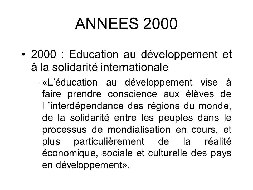 1997 : Léducation au développement devient «un moyen essentiel de l apprentissage de la citoyenneté».