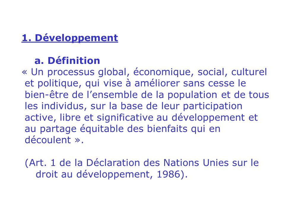 II. LES CONCEPTS EN JEU 1. Développement 2. Développement durable 3.
