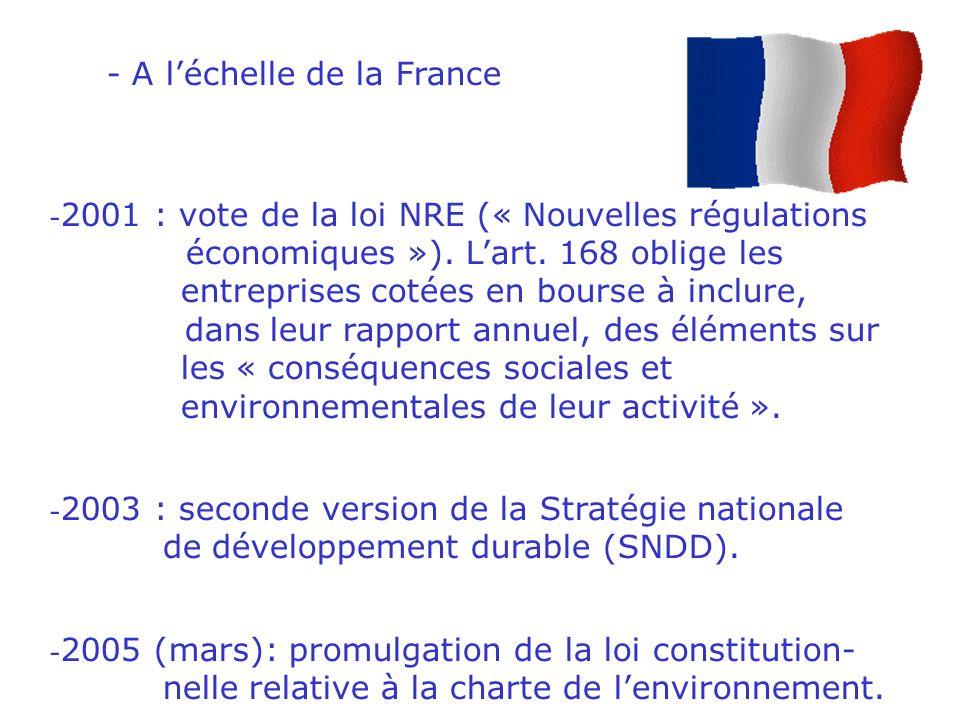 - A léchelle européenne - 1997 : le traité de Maastricht mentionne la nécessité dune stratégie de développement durable.