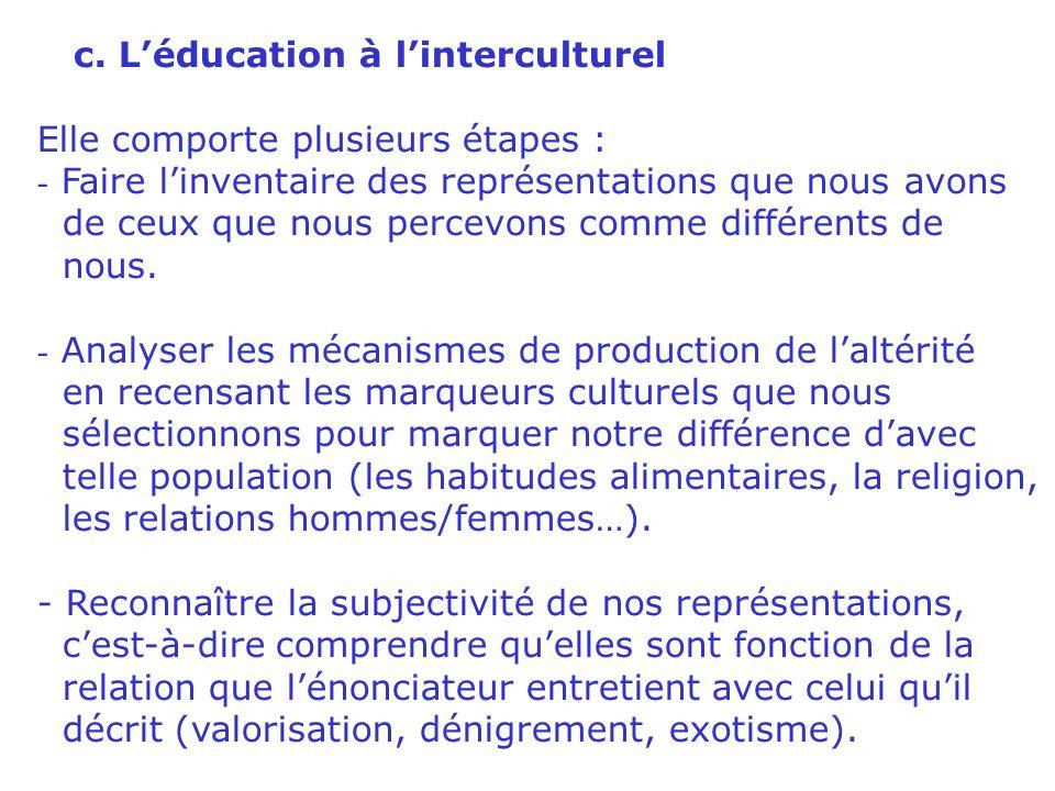 b. Linterculturel nest pas le multiculturel Le multiculturel est une description dune réalité où coexistent plusieurs cultures distinctes. Les culture