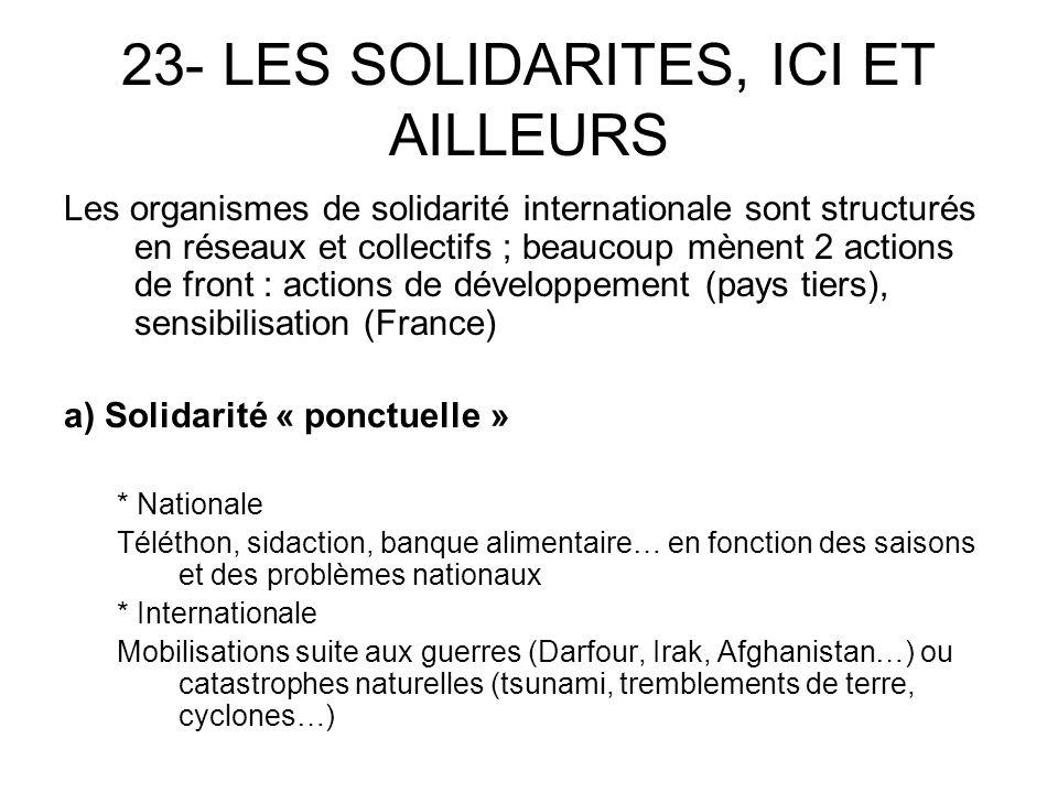 - Coopération décentralisée / région, département, commune c) O.N.G.