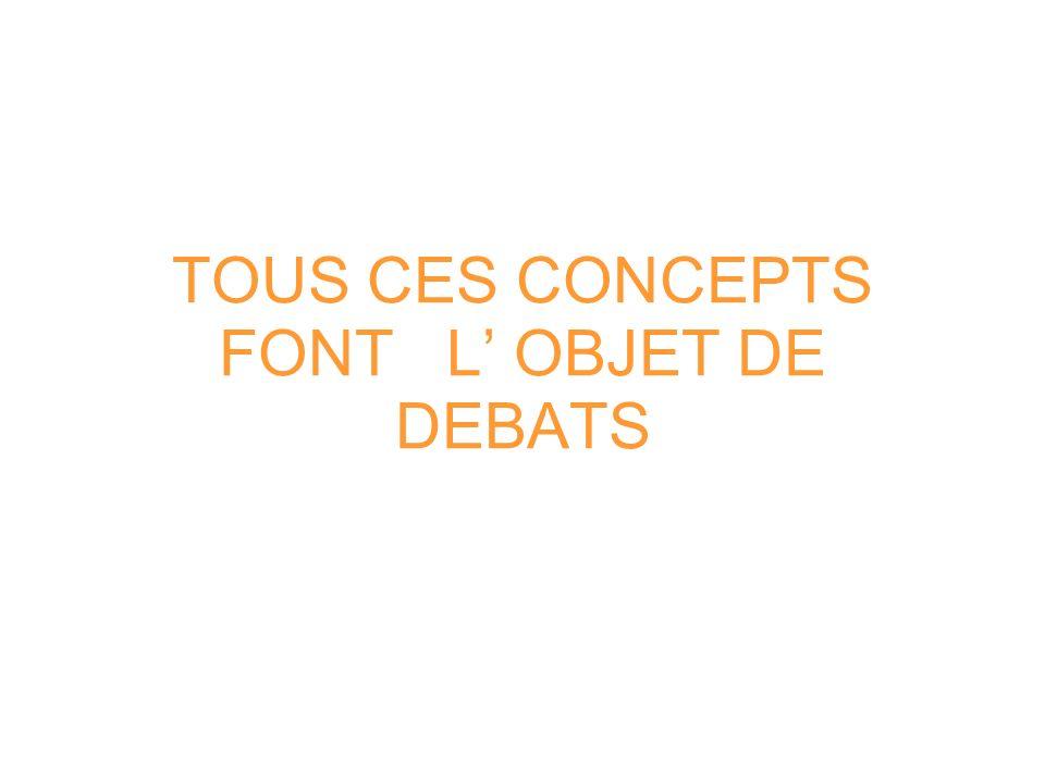 TOUS CES CONCEPTS FONT L OBJET DE DEBATS