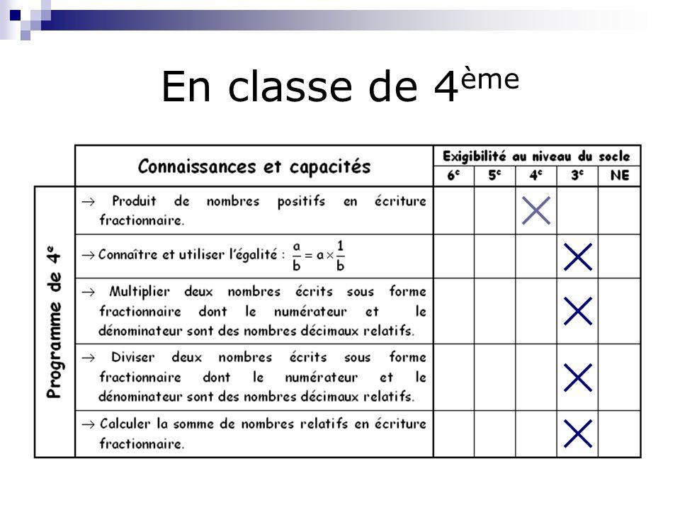 En classe de 3 ème Rendre irréductible Simplification de fractions dans des cas simples