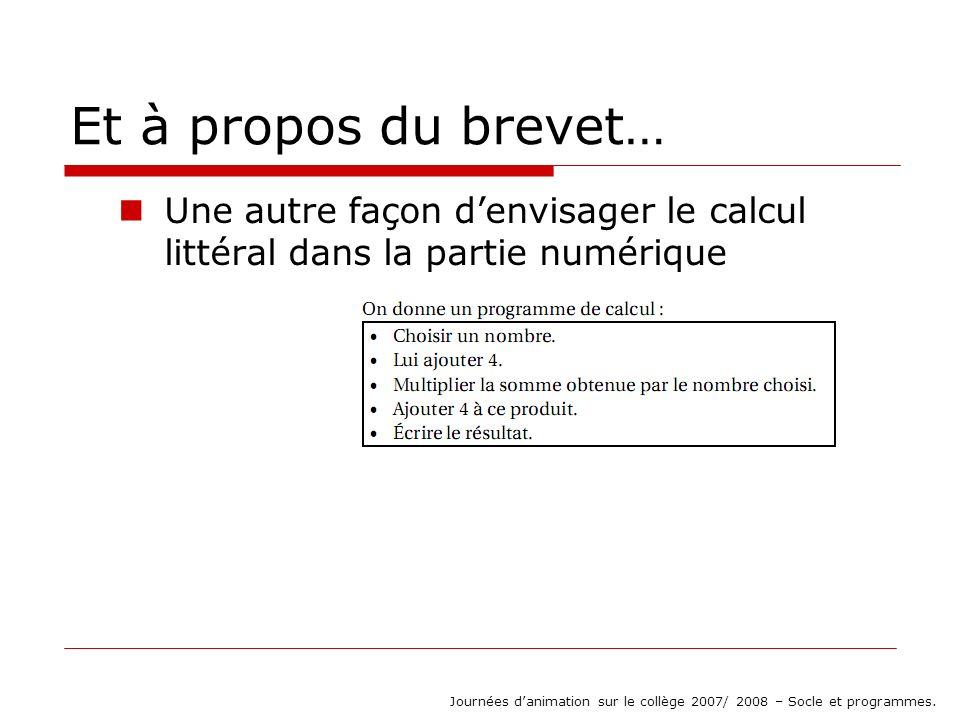 Et à propos du brevet… Une autre façon denvisager le calcul littéral dans la partie numérique Journées danimation sur le collège 2007/ 2008 – Socle et programmes.